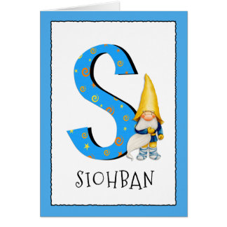 3rd birthday party greeting cards zazzle gnome kids letter s name and age birthday greeting card bookmarktalkfo Image collections
