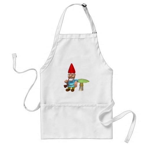 gnome leaning on mushroom aprons