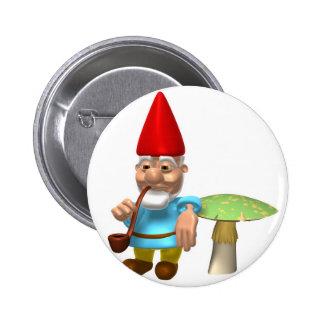 gnome leaning on mushroom 6 cm round badge