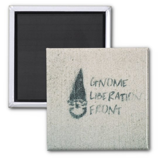 Gnome Liberation Front Square Magnet