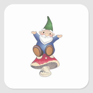 GNOME ON MUSHROOM SQUARE STICKER
