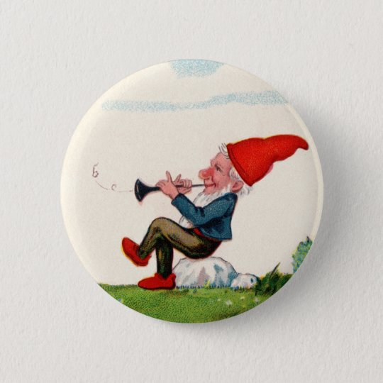 Gnome Playing Music Buttom 6 Cm Round Badge