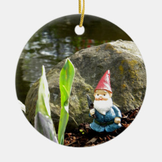 Gnome Pond Round Ceramic Decoration