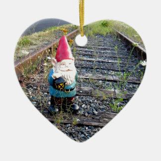 Gnome Tracks Double-Sided Heart Ceramic Christmas Ornament