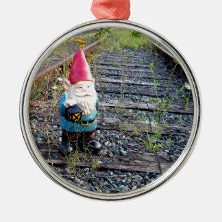 Gnome Tracks Silver-Colored Round Decoration