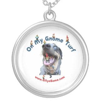 Gnome Turf Dog Round Pendant Necklace