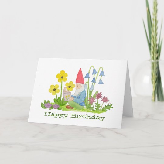 Gnome With Flower Book Birthday Card Zazzle