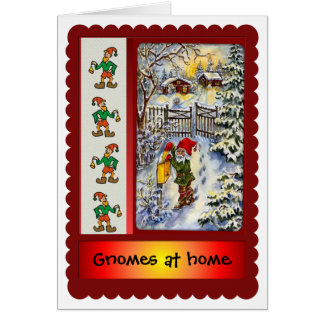 Gnomes at home for Christmas Card