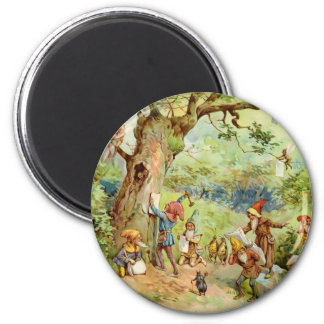 Gnomes, Elves and Fairies in the Magical Forest 6 Cm Round Magnet