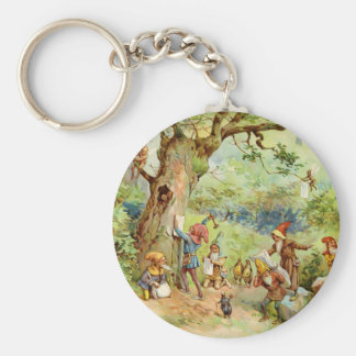 Gnomes, Elves and Fairies in the Magical Forest Basic Round Button Key Ring