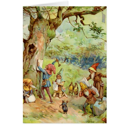 Gnomes, Elves and Fairies in the Magical Forest Card