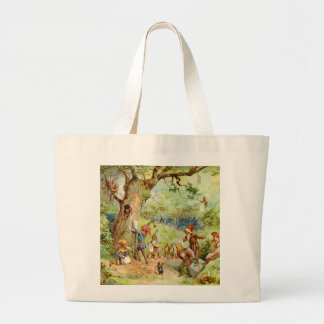 Gnomes, Elves and Fairies in the Magical Forest Large Tote Bag