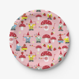 Gnomes Garden Party Paper Plates 7 Inch Paper Plate