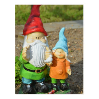 Gnomes in the garden  statue postcard