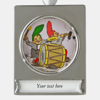 Gnomes Making Music Silver Plated Banner Ornament