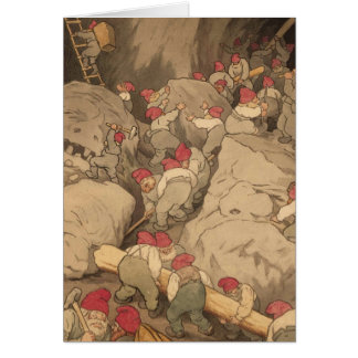 Gnomes Mining in a Cave Card