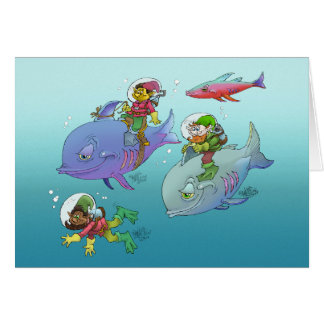 Gnomes riding on fish, on a card. greeting card