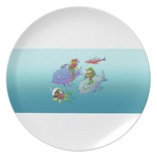 Gnomes riding on fish, on a plate. party plates
