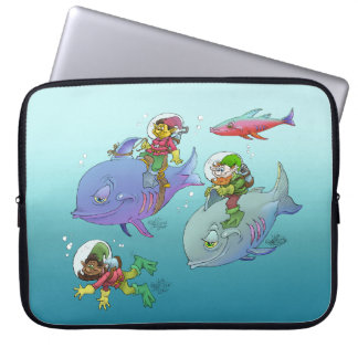Gnomes riding on fish, on laptop sleeve. computer sleeve