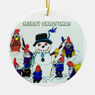 GNOMES SNOWMAN, CHRISTMAS ornament