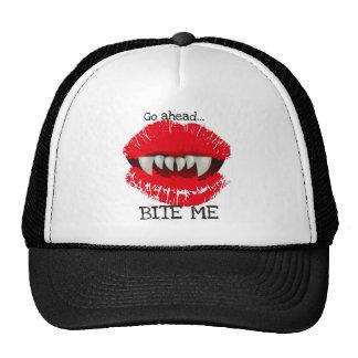 GO AHEAD...BITE ME...VAMPIRE TEETH LIPS CAP