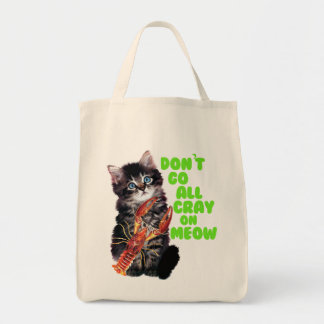 Go All Crayfish On Meow Grocery Tote Bag