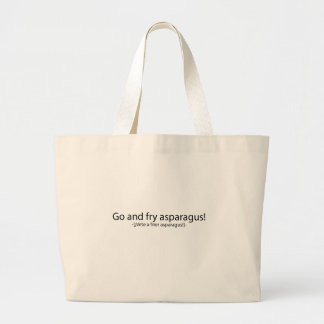 Go and fry esparagus tote bags