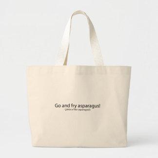 Go and fry esparagus jumbo tote bag