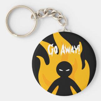 Go Away! Basic Round Button Key Ring
