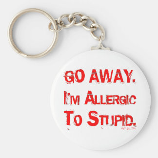 Go Away Basic Round Button Key Ring