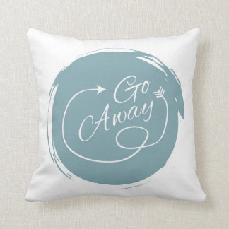 Go Away Funny Typography Modern Arrow Minimalist Cushion