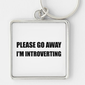 Go Away Introverting Silver-Colored Square Key Ring