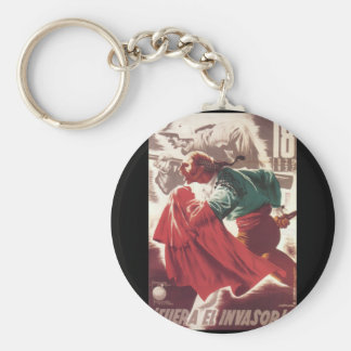 Go away, invaders! (1937)_Propaganda Poster Basic Round Button Key Ring
