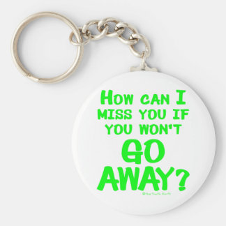 Go Away Basic Round Button Key Ring