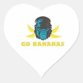 Go Bananas Heart Stickers