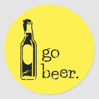 Go Beer with Beer Bottle: Any Team Colors Round Sticker