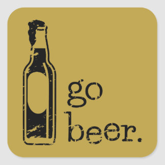 Go Beer with Beer Bottle: Any Team Colors Square Sticker