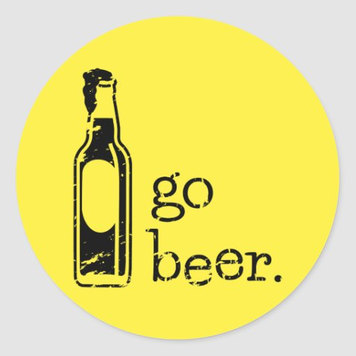 Go Beer with Beer Bottle: Any Team Colors Round Stickers