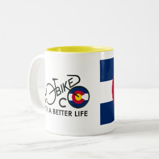 Go Bike Colorado Two-Tone Coffee Mug
