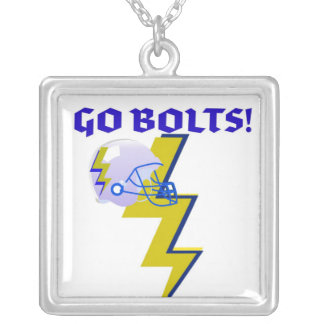 GO BOLTS! GRAPHIC FOOTBALL PRINT SILVER PLATED NECKLACE