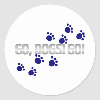 go, dogs! go! with blue paw prints stickers