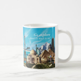 Go explore 7 wonders travel collage mug