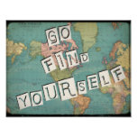 Go Find Yourself Vintage Map Poster
