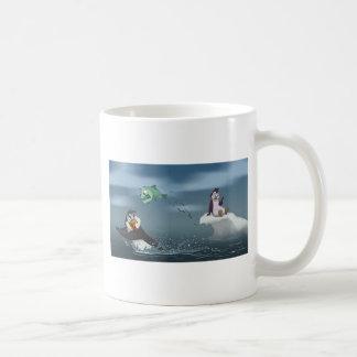 """""""Go Fish"""" Penguin w/Background Basic White Mug"""
