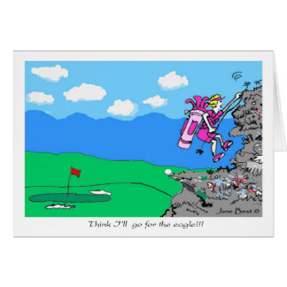 Go For Eagle Golf Cartoon Greeting Card