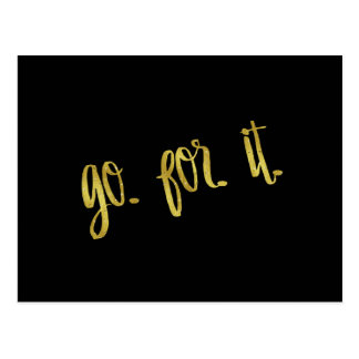 Go For It Quote Gold Faux Foil Inspirational Quote Postcard