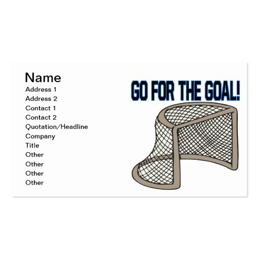 Go For The Goal Business Card Template