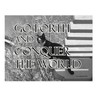 Go Forth and Conquer Motivational Cat Postcard