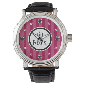 Go Foxes foxhead and foxpaw logo Watch