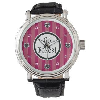 Go Foxes foxhead and foxpaw logo Wrist Watch